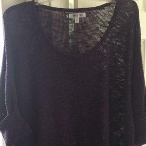Purple slouch light silver glitter sweater blouse